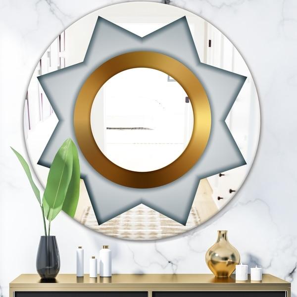 Designart 'Silver Star' Glam Mirror - Oval or Round Wall Mirror - Grey