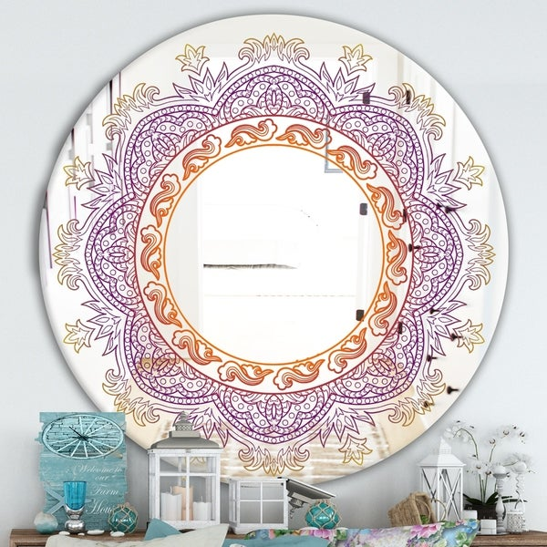 Designart 'Purple and Orange Mandala' Traditional Mirror - Round Wall Mirror - Purple