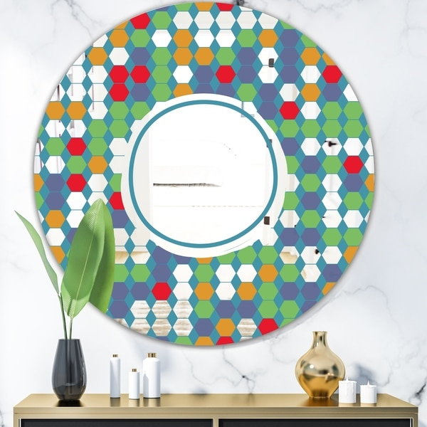 Designart 'Colored Hexagons On Blue' Mid-Century Mirror - Oval and Circle Decorative Mirror - Green