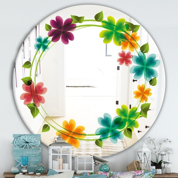 Designart 'Flowers With Heart Petals' Cabin and Lodge Mirror - Oval or Round Wall Mirror - Green