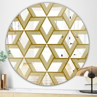 Designart Gold Diamonds In Stars Glam Mirror - Oval and Circle Wall Mirror - Gold (31.5 in. wide x 31.5 in. high - Round)