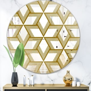 Designart 'Gold Diamonds In Stars' Glam Mirror - Oval and Circle Wall Mirror - Gold