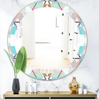 Designart 'Pastel Triangles' Mid-Century Mirror - Oval or Round Vanity Mirror - Blue