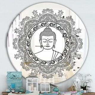 Designart 'Stenciled Buddha Mandala' Traditional Mirror - Round Wall Mirror - Black