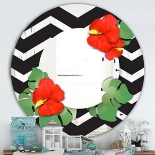 Designart 'Elementary Botanicals 2' Cabin and Lodge Mirror - Oval or Round Wall Mirror - Black