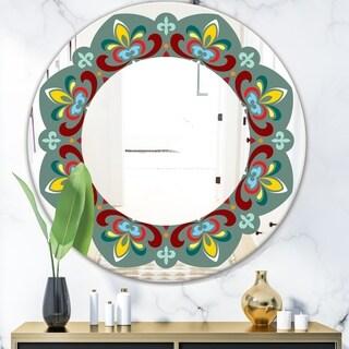 Designart 'Fleur De Lis' Mid-Century Mirror - Oval or Round Wall Mirror - Green