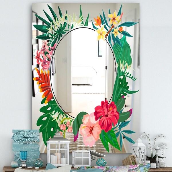 Designart 'Garland Sweet 3' Cabin and Lodge Mirror - Large Wall Mirror - Green