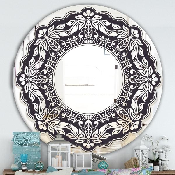 Designart 'Black Mandala' Traditional Mirror - Oval or Round Wall Mirror - Black