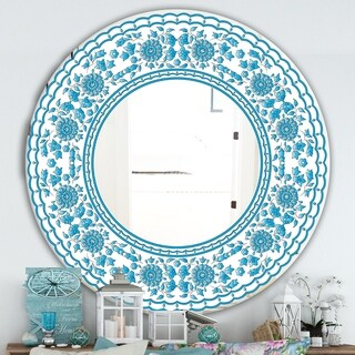 Designart 'Blue Traditional Flower Pattern' Cabin and Lodge Mirror - Oval or Round Wall Mirror - Blue