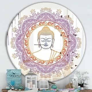 Designart 'Buddha Madala Purple and Orange' Traditional Mirror - Oval or Round Wall Mirror
