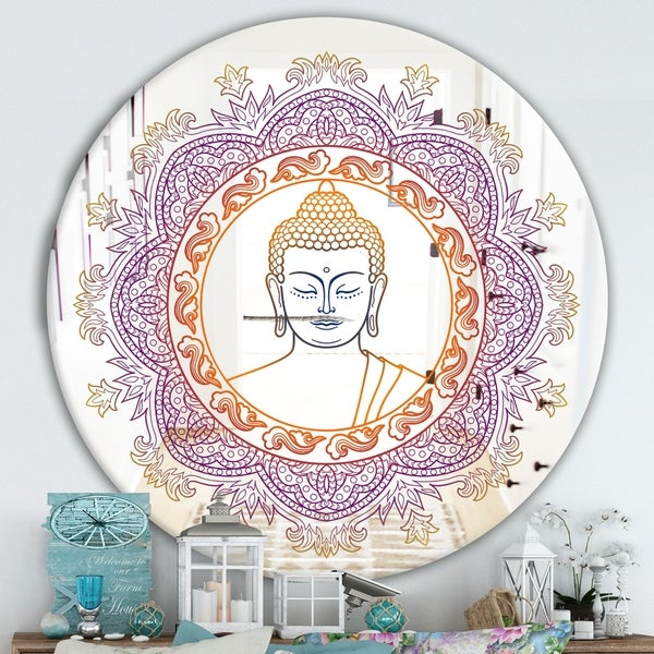 Designart 'Buddha Madala Purple and Orange' Traditional Mirror - Oval or Round Wall Mirror
