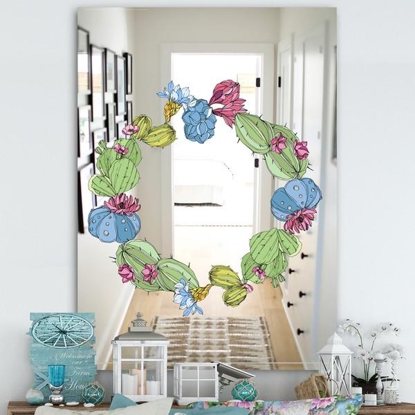 Designart 'Cactus 1' Farmhouse Mirror - Wall Mirror - Green