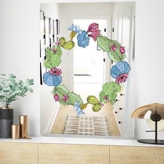 Designart Cactus 1 Green Farmhouse Wall Mirror (23.6 in. wide x 35.4 in. high)