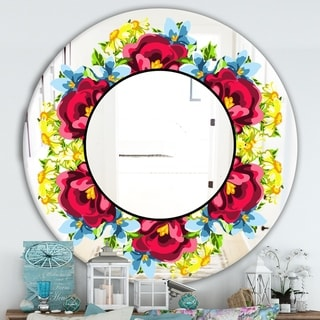 Designart 'Pink Yellow and Blue' Cabin and Lodge Mirror - Oval or Round Wall Mirror - Red