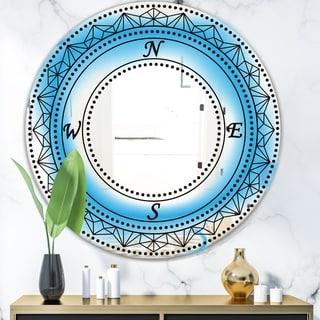 Designart 'Cardinal Points' Mid-Century Mirror - Oval or Round Decorative Mirror - Blue
