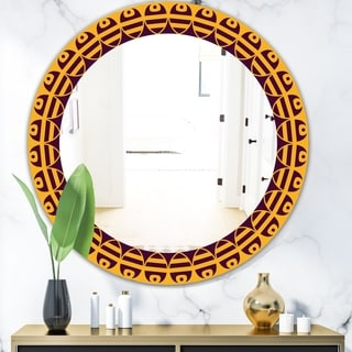 Designart 'Brown and Yellow Pattern' Mid-Century Mirror - Oval or Round Wall Mirror - Multi