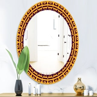Designart Brown and Yellow Pattern Mid-Century Oval or Round Wall Mirror (23.7 in. wide x 31.5 in. high - Oval)