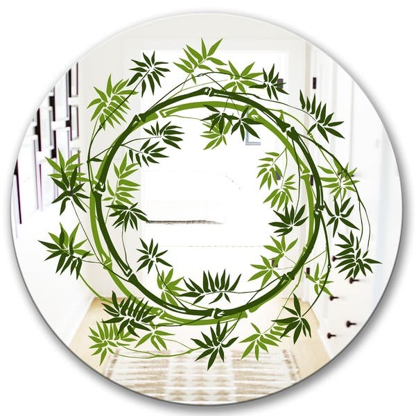 Designart Circle Of Bamboo Plants Oval Or Round Decorative Mirror