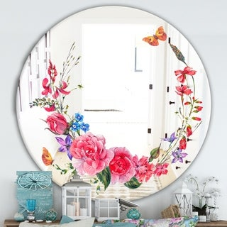 Designart 'Butterflys and Flowers' Cabin and Lodge Mirror - Oval or Round Wall Mirror - Pink