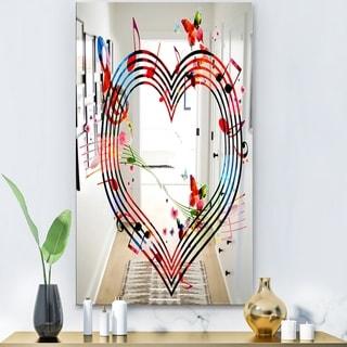 Designart 'Music Notes V' Modern Mirror - Contemporary Large Wall Mirror - Multi