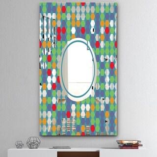 Designart 'Colored Hexagons On Blue' Mid-Century Mirror - Decorative Mirror - Green