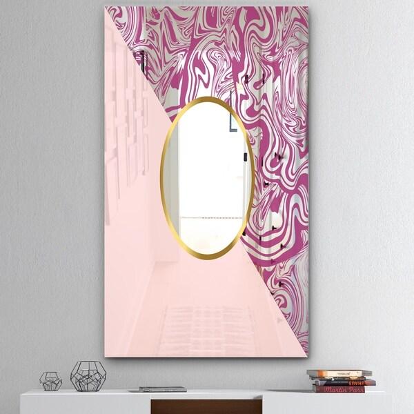 Designart 'Marbled Pink Marble 1' Mid-Century Mirror - Wall Mirror