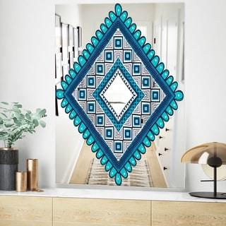 Designart Triangular Crenelated Mid-Century Blue Large Wall Mirror (23.6 in. wide x 35.4 in. high)