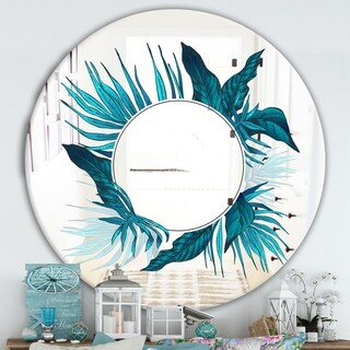 Designart 'Blue Tropical Leaves' Traditional Mirror - Oval or Round Wall Mirror - Blue
