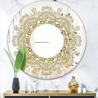 Designart 'Brown Mandala' Glam Mirror - Oval or Round Accent or Vanity Mirror - Gold