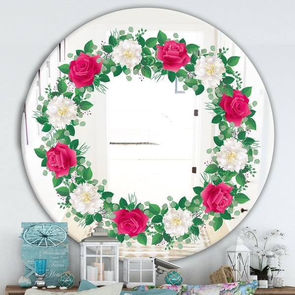 Designart 'No Image' Cabin and Lodge Mirror - Oval or Round Wall Mirror - Red