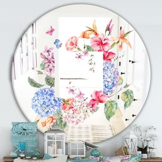 Designart 'Garland Sweet 5' Cabin and Lodge Mirror - Oval or Round Wall Mirror - Blue