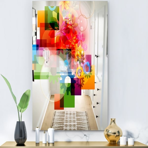 Designart 'Gears Flowers and Colors' Modern Mirror - Large Wall Mirror - Multi