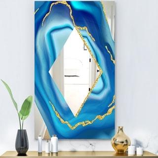 Designart 'Marbled Blue 1' Glam Mirror - Decorative Modern Mirror