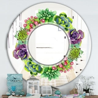 Designart 'Save The Date' Traditional Mirror - Oval or Round Wall Mirror - Green