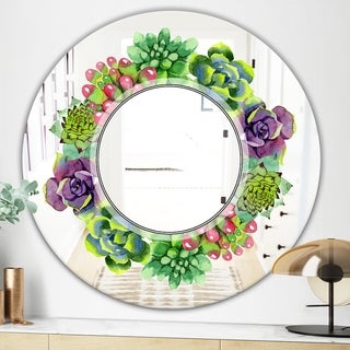 Designart Save The Date Traditional Green Oval or Round Wall Mirror (Round - 31.5 in. wide x 31.5 in. high)