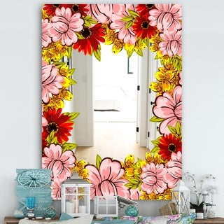 Designart 'Garland Vivid 1' Farmhouse Mirror - Vanity Mirror - Pink