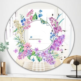 Designart Garland Sweet 4 Cabin and Lodge Purple Oval or Round Wall Mirror (Round - 31.5 in. wide x 31.5 in. high)