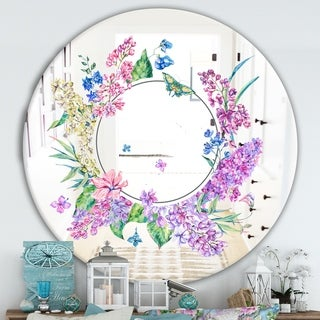 Designart 'Garland Sweet 4' Cabin and Lodge Mirror - Oval or Round Wall Mirror - Purple