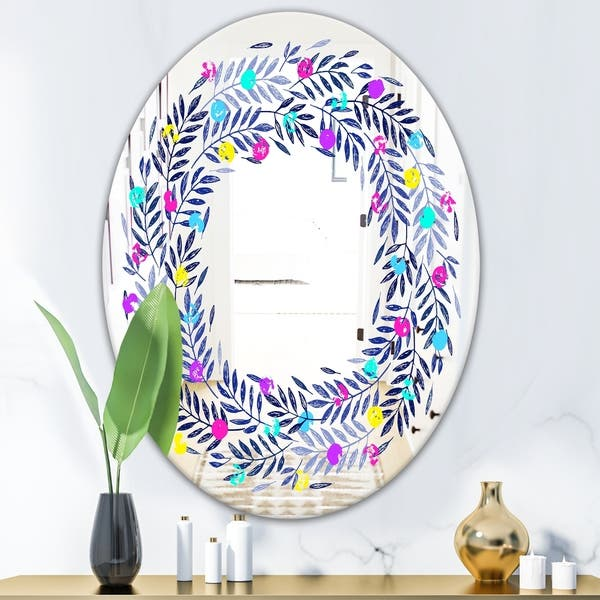 Shop Designart 'Colorful Leaves' Farmhouse Mirror - Oval or ... on olive tree green leaves, florida plants with red leaves, house plants with colorful leaves, house plants and their names, wandering jew with fuzzy leaves, purple foliage plants with leaves, house plants with waxy red blooms, house plants with long green leaves, house plants with small leaves, house plant rubber plant, house with red flowers, house plants with shiny leaves, house plants with bronze leaves, house plant purple heart, house plants with dark red leaves, poisonous plants with purple leaves, perennial plants with purple leaves, tomato plants with purple leaves, purple house plant fuzzy leaves, house plants with light green leaves,