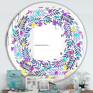 Designart 'Colorful Leaves' Farmhouse Mirror - Oval or Round Vanity Mirror - Purple