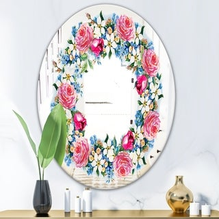 Designart Watercolor Roses Red/Multicolor Glass Round Vanity Mirror (Oval - 23.7 in. wide x 31.5 in. high)
