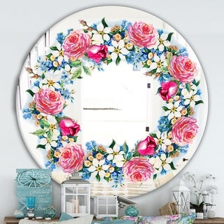 Designart 'Watercolor Roses' Cabin and Lodge Mirror - Oval or Round Vanity Mirror - Red