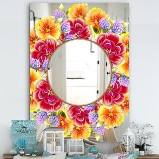 Designart 'Garland Sweet 2' Farmhouse Mirror - Wall Mirror - Red