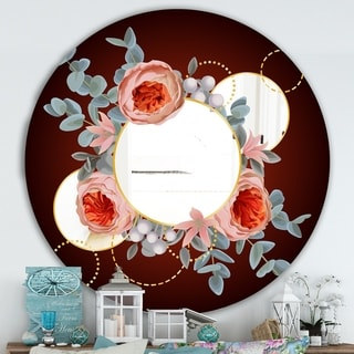Designart 'Floral Rings' Traditional Mirror - Oval or Round Wall Mirror - Black