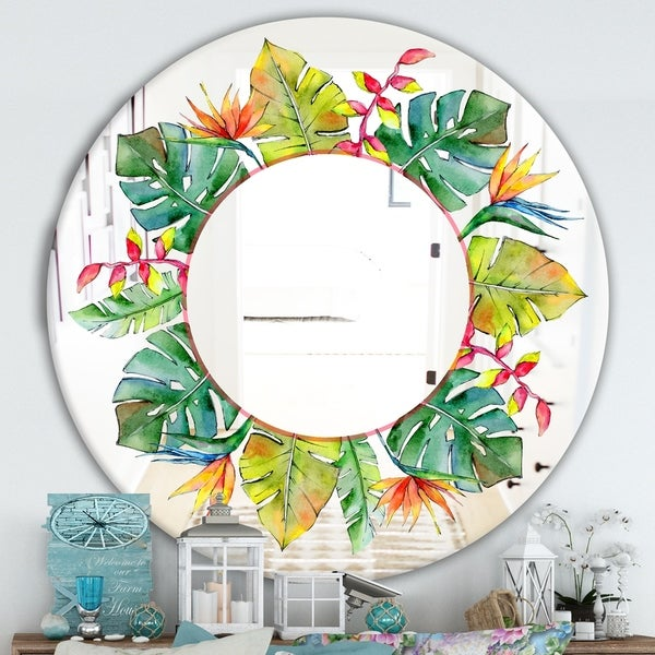 Designart 'Tropical HawaII Leaves In A Watercolor Style.' Cabin and Lodge Mirror - Oval or Round Decorative Mirror - Green