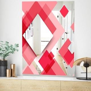 Designart Triangular Red 1 Modern Pink Wall Mirror (23.6 in. wide x 35.4 in. high)