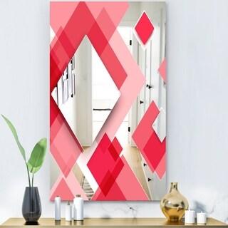 Designart 'Triangular Red 1' Modern Mirror - Wall Mirror - Pink