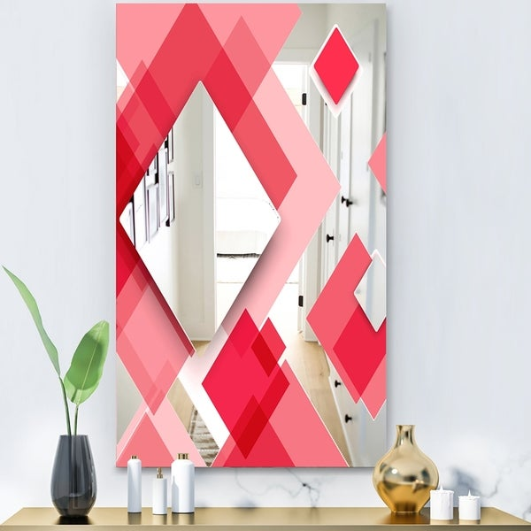 Designart 'Triangular Red 1' Modern Mirror - Wall Mirror - Pink
