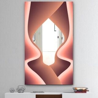 Designart 'Nebulous Waves 3' Mid-Century Mirror - Wall Mirror - Pink