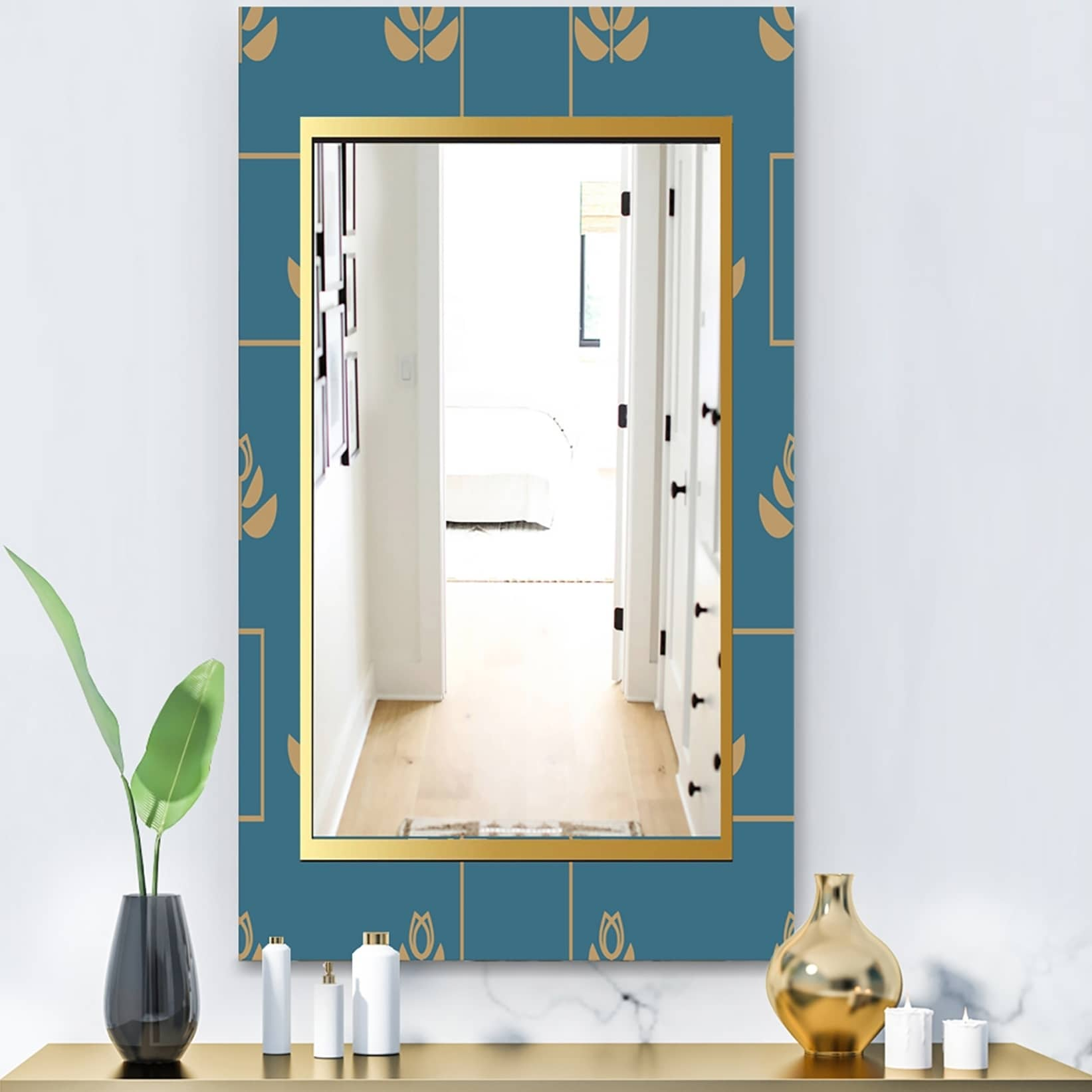Designart Blue and Gold Modern Wall Mirror (23.6 in. wide x 35.4 in. high)